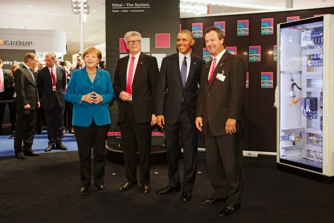 Obama At Rittal Booth In Hannover